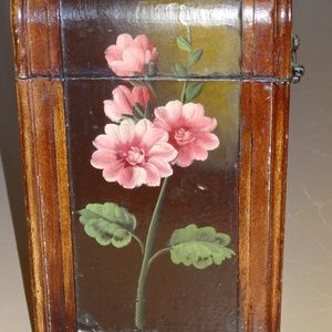 Handpainted Oil Rose Lacquered Wooden Wine Box